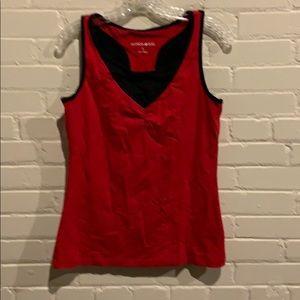 Women's S Fashion Bug fitted red/black tank